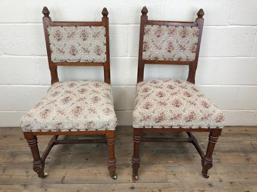 Pair of Antique Victorian Gothic Oak Chairs with Floral Upholstery (1 of 10)