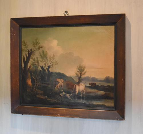 Fine Georgian Landscape Oil Painting with Cattle & Dog (1 of 8)