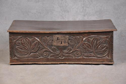 17th Century Oak Leaf Carved Box (1 of 8)