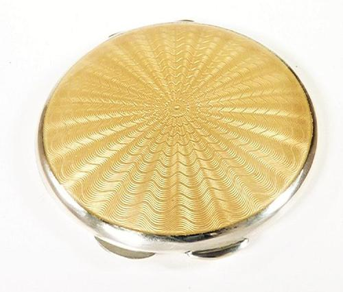 Sterling Silver & Guilloche Enamel Compact Mirror (1 of 7)