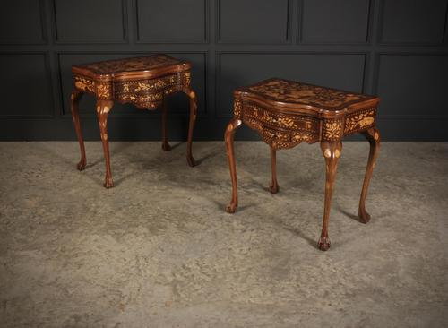 Pair of Dutch Marquetry Inlaid Serpentine Card Tables (1 of 18)