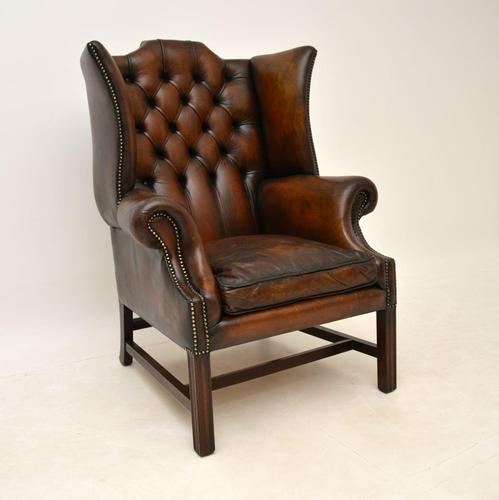 Antique Leather & Mahogany  Wing Back Armchair (1 of 9)