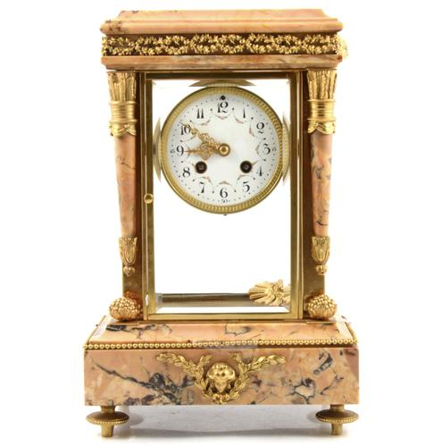 """French """"Four Glass"""" Rouge Marble Mantel Clock (1 of 1)"""