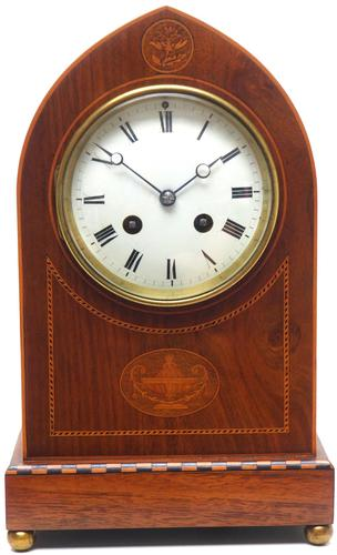 Incredible French Inlaid Lancet Mantel Clock Multi Wood Inlay 8 Day Striking Mantle Clock (1 of 10)