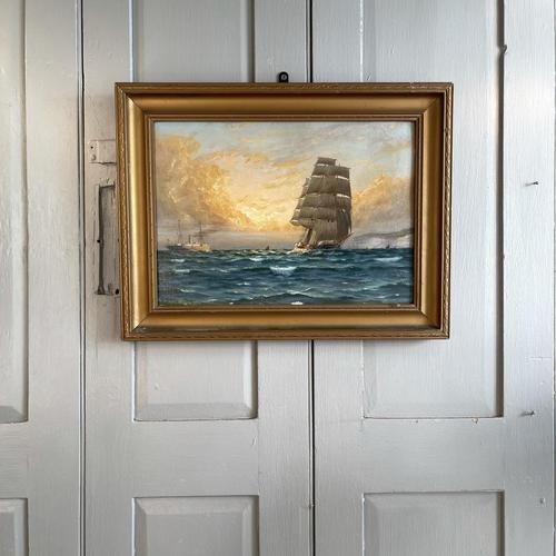 Antique Marine Oil Seascape Painting of Tall Sailing Ship at Sunset by Harry Noyes Lewis (1 of 10)