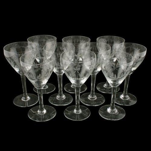 Set of 10 Cut Wine Glasses (1 of 7)