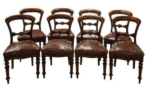 Set of 8 Good Quality Victorian Mahogany Balloon-Back Dining Chairs (1 of 8)