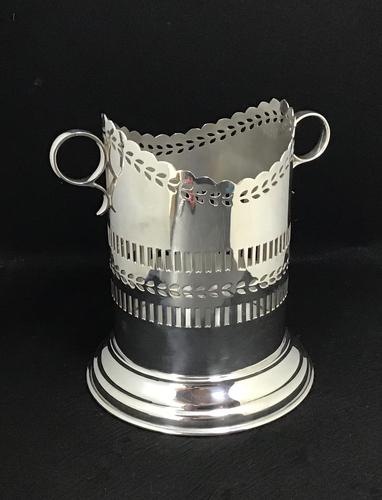 Edwardian Reticulated  Silver Plated Two Handle Bottle Holder (1 of 4)