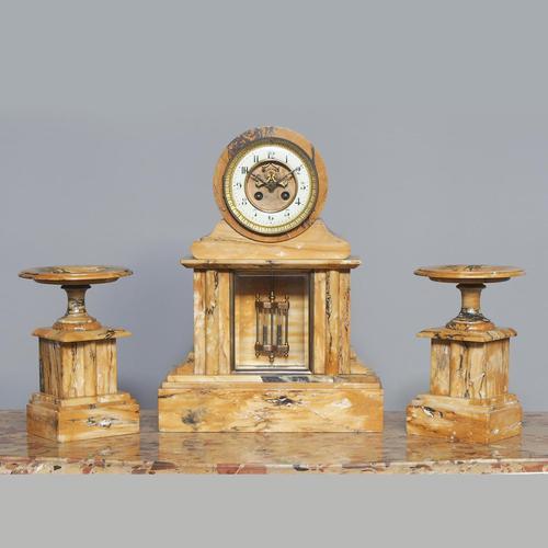 Sienna Marble Clock Garniture (1 of 6)