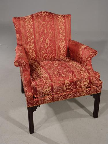 Handsome Early 20th Century Chippendale Style Mahogany Framed Gainsborough Chair (1 of 4)