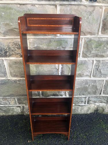 Edwardian Inlaid Mahogany Slim Open Bookcase (1 of 7)