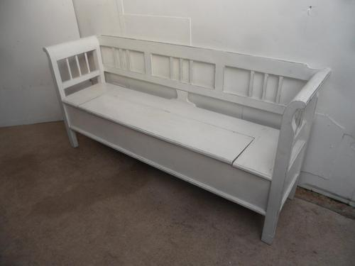 A White 3 Seater Antique/Old Pine Kitchen/Hall Box Settle/ Bench (1 of 9)