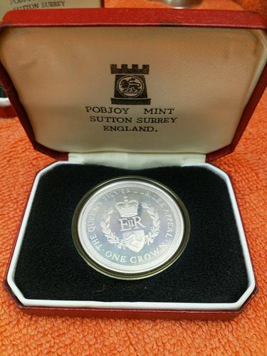 1977 Isle of Man One Crown Sterling Silver Proof Coins - Silver Jubilee - , Cased (1 of 6)