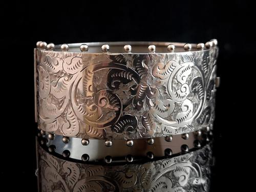 Victorian silver cuff bangle, Aesthetic (1 of 15)