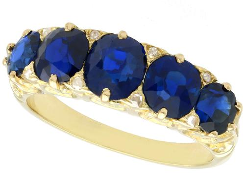 3.15 ct Basaltic Sapphire and Diamond, 15 ct Yellow Gold Five Stone Ring - Antique c.1910 (1 of 9)