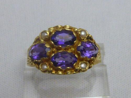 18ct Gold Amethyst & Pearl Ring (1 of 6)