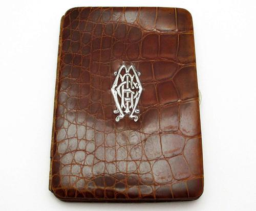 Antique Edwardian Solid Sterling Silver Mounted Crocodile Skin Leather Wallet Purse Card Stamp Case c.1910 (1 of 9)