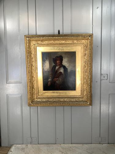 Antique Re-Raphaelite oil painting portrait of a young man with violin (2 of 2) (1 of 10)