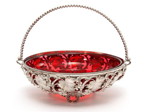 Victorian Silver Plated Basket with the Original Cranberry Glass Liner (1 of 6)