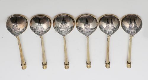 Russian Silver Niello Tea Spoons by Keibel (1 of 4)