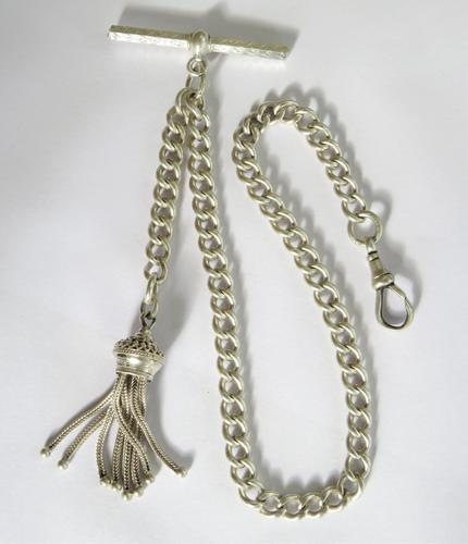 Antique Silver Single Pocket Watch Chain (1 of 5)