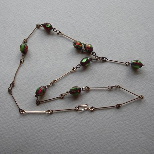 Art Deco Pink & Green Foil Glass Bead Necklace (1 of 7)
