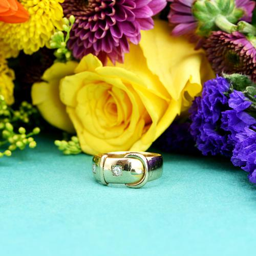 The Antique Victorian 1890 Gold & Diamond Buckle Ring (1 of 7)