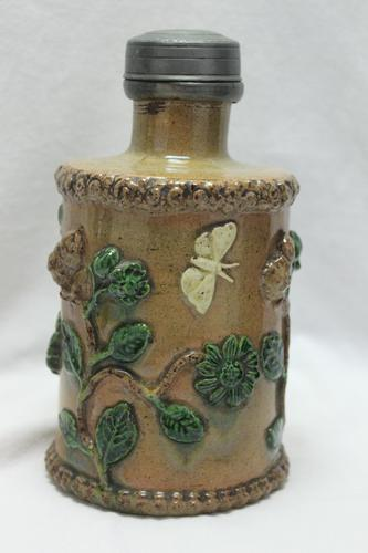 Pewter Lidded Earthenware Tea Canister (1 of 5)