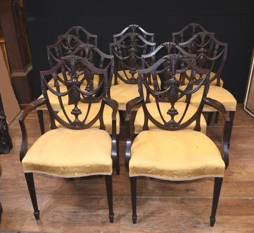 Set 10 Adams Shield Back Dining Chairs Mahogany (1 of 9)