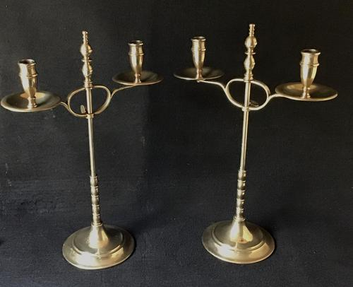 Stylish Pair of Arts & Crafts Students Candelabra (1 of 5)