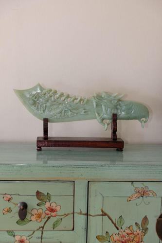 Carved Jade Dragon Handled Ceremonial Object on Plinth (1 of 11)