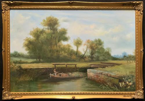 Superb Large Vintage Gilt-Framed Landscape Oil Painting of Barge on the Canal (1 of 13)