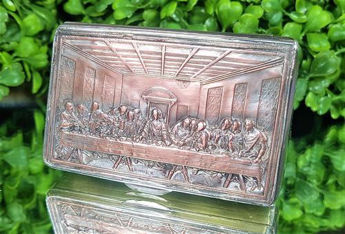 Rare French F Morel Solid Silver Last Supper Scense Lud Snuff Box (1 of 18)