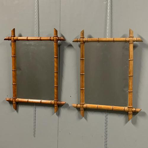 Pair of mid size faux bamboo mirrors (1 of 7)