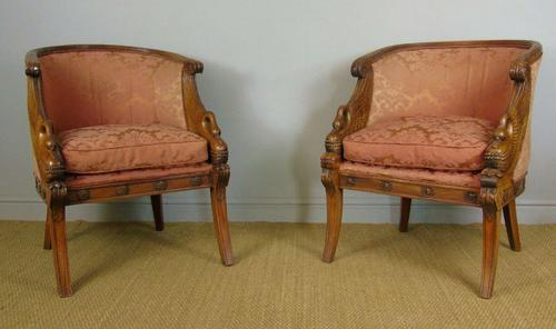 Fine Pair of Empire Style Mahogany Armchairs with Carved Swan Arms (1 of 7)