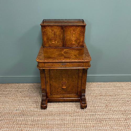 Spectacular Quality Victorian Figured Walnut Antique Davenport (1 of 9)