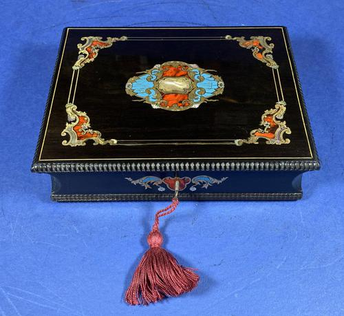 19th century French Ebony, Brass Lacquer & Red Tortoiseshell Jewellery Box (1 of 17)