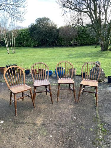 Set of Four Early 20thc Ash & Beach Kitchen Chairs (1 of 6)