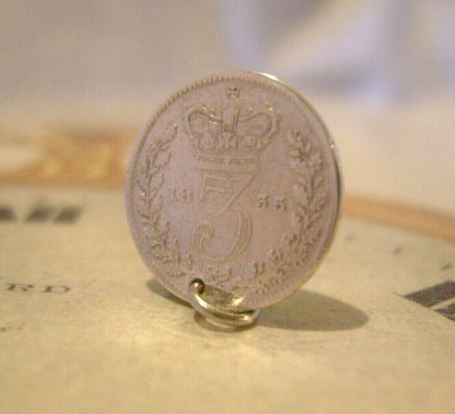 Georgian Pocket Watch Chain Fob 1835 Antique Silver Threepence Old 3d Coin Fob (1 of 6)