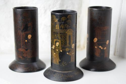 Chinoiserie Black Lacquered Paper Mache Brush Pots (1 of 10)