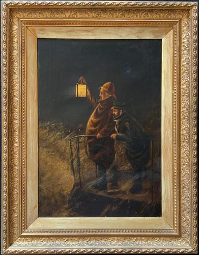 Newlyn School? Fab 19th Century Fishermen in Rough Seas Oil Portrait Painting (1 of 16)