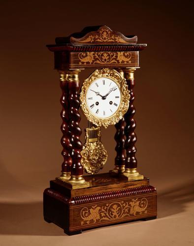 Original Antique Inlaid French Portico Clock c.1870 (1 of 8)