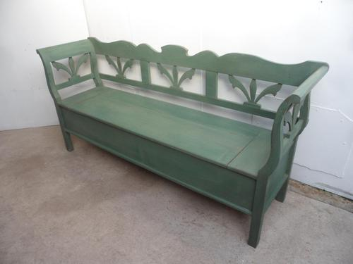A Green 3/4 Seater Antique/Old Pine Kitchen/Hall Box Settle/ Bench (1 of 10)