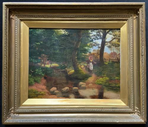 John Barter Lovely 19th Century Oil Painting 'Crossing the Stones' (1 of 14)