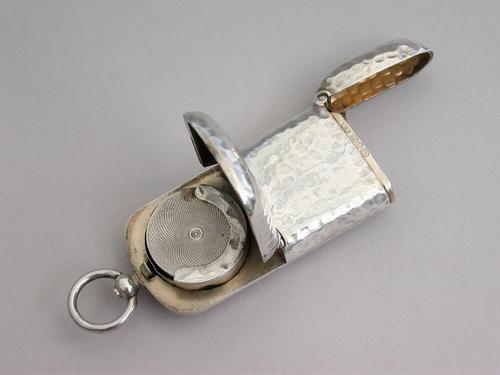 Victorian Hammered Silver Combination Vesta & Sovereign Case by William Neal, Birmingham, 1891 (1 of 11)