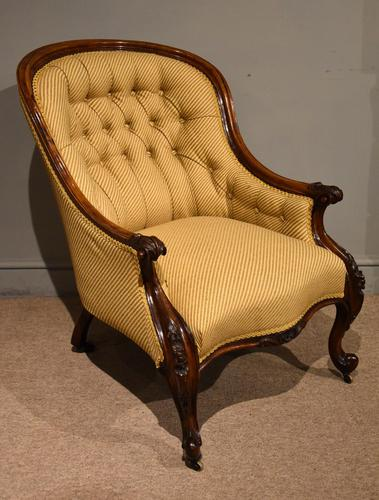 19th Century Carved Upholsterd Armchair (1 of 6)