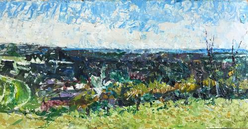 Original Oil on Board 'view Above Chichester' by Ken Walch 1928-2017. Signed. C. 1970. (1 of 1)