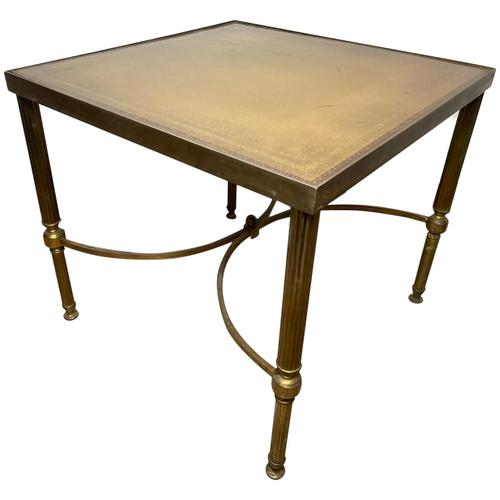 French Brass Square Leather Top Coffee Table (1 of 28)