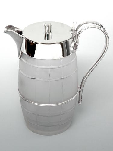 Barrel Shaped Silver Plated & Cut Glass Water or Beer Jug (1 of 3)