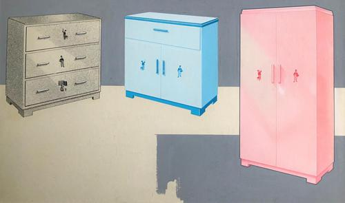 Original mixed media painting 'Furniture for a child's bedroom' c.1955 (1 of 3)